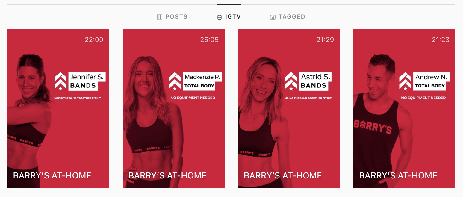 Barry's previous at-home workouts, accessible on their IGTV.