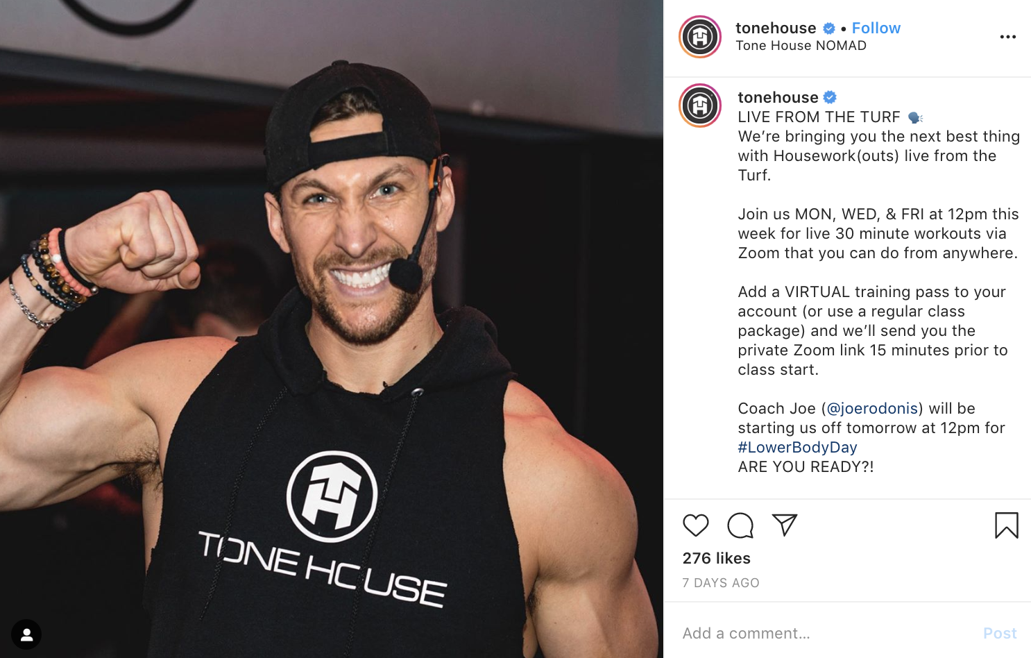 Tone House's House Work live class announcement.
