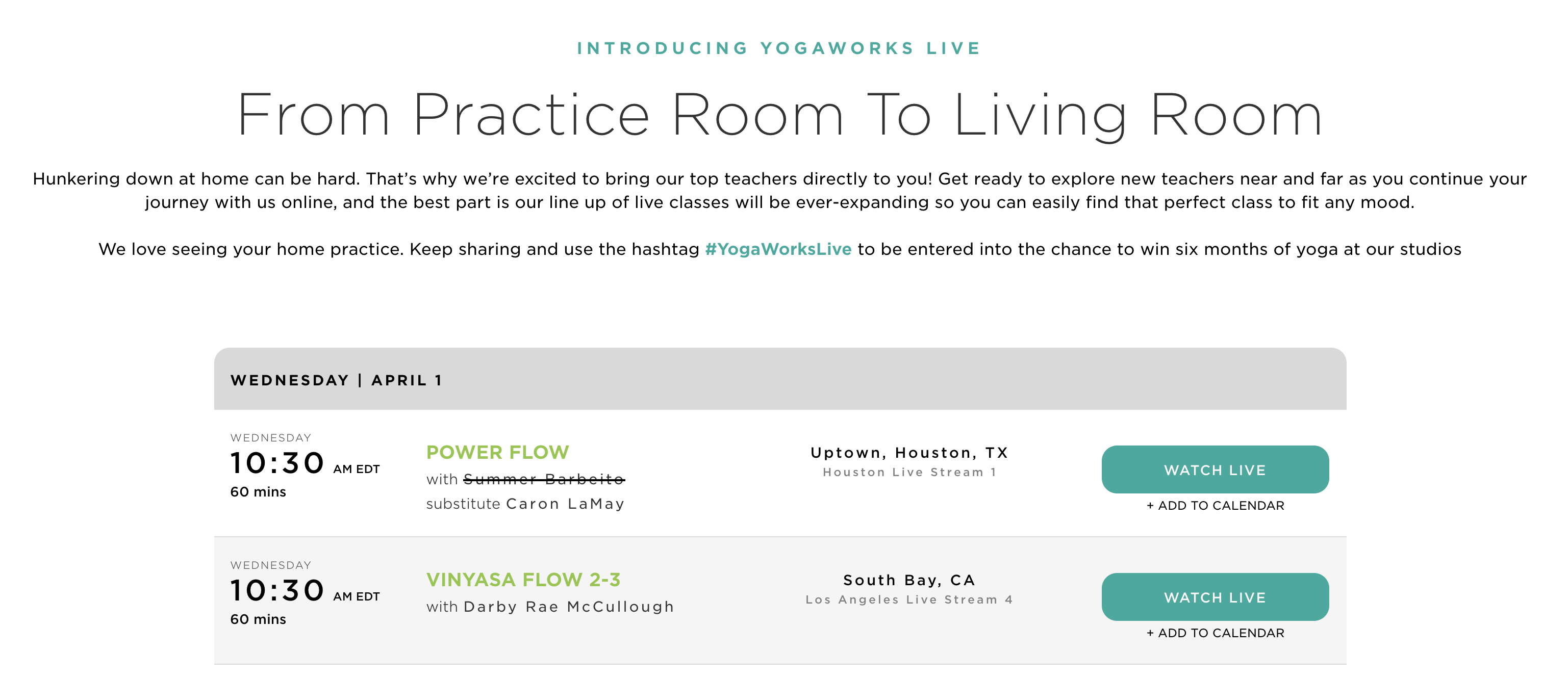The YogaWorks Live schedule.