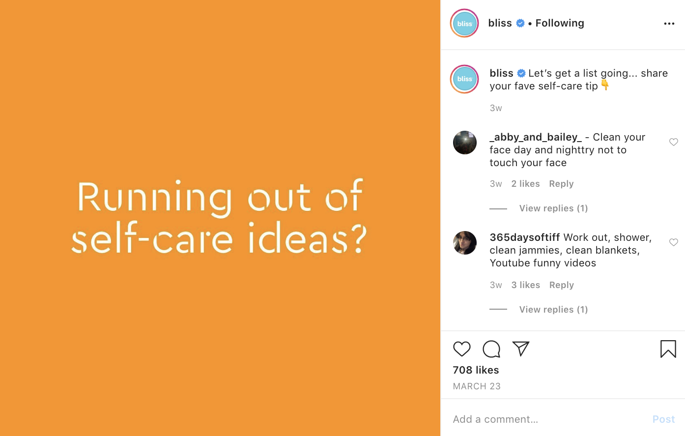 Bliss curating self-care ideas from their Instagram followers.