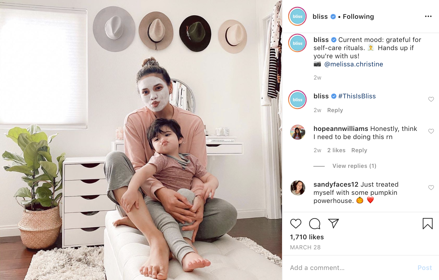 Customer photos being featured on Bliss social accounts and paired with self-care messaging.