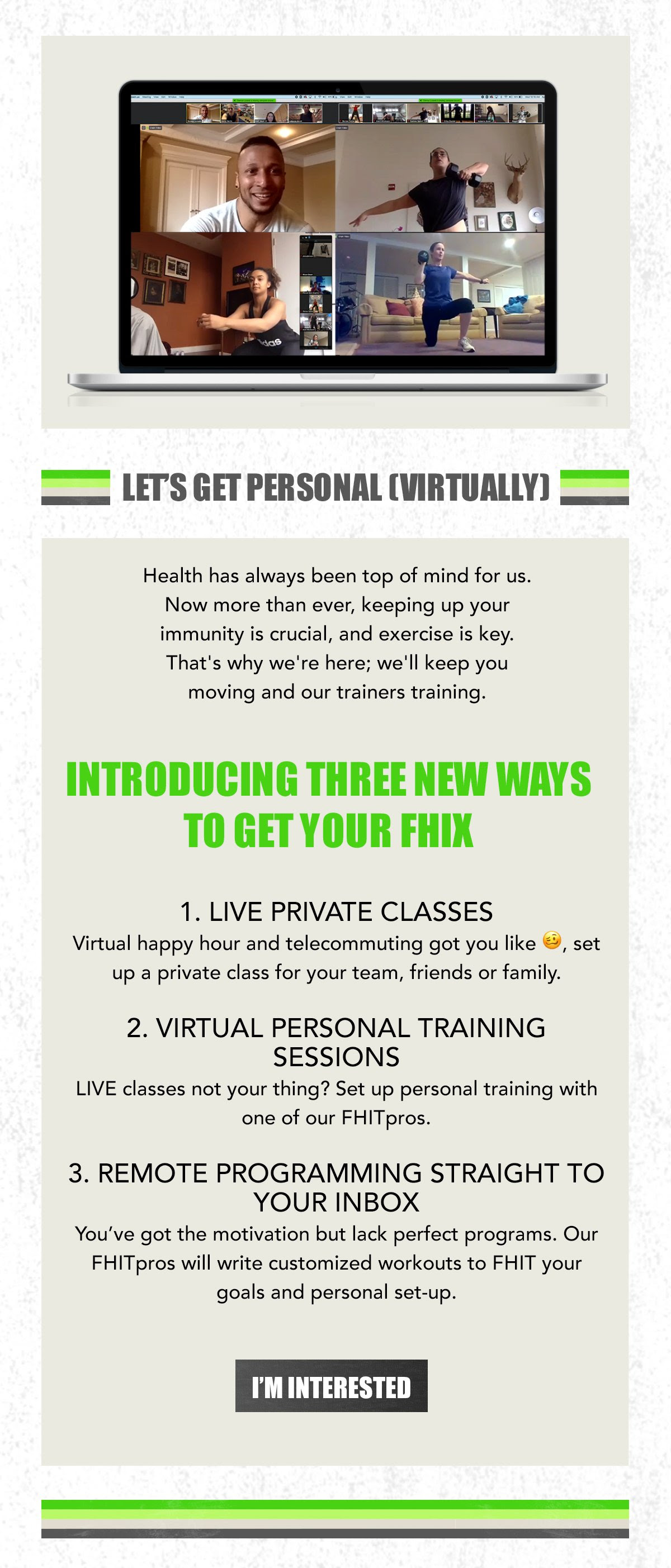 An email blast to their subscribers announcing their virtual training options.