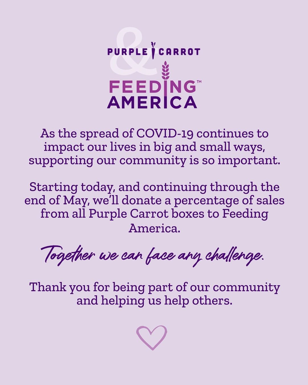 Purple Carrot's Feeding America contributions.