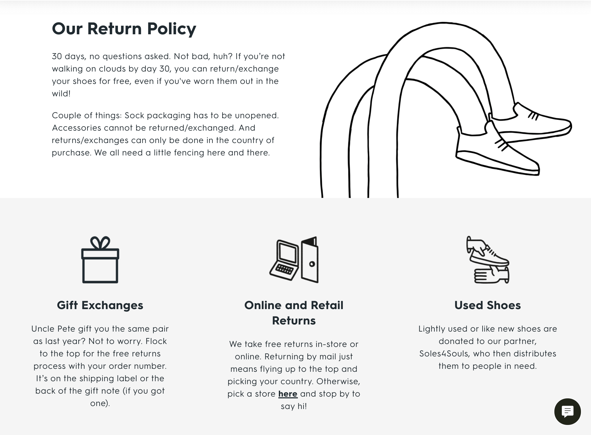 AllBird's returns and exchanges page.