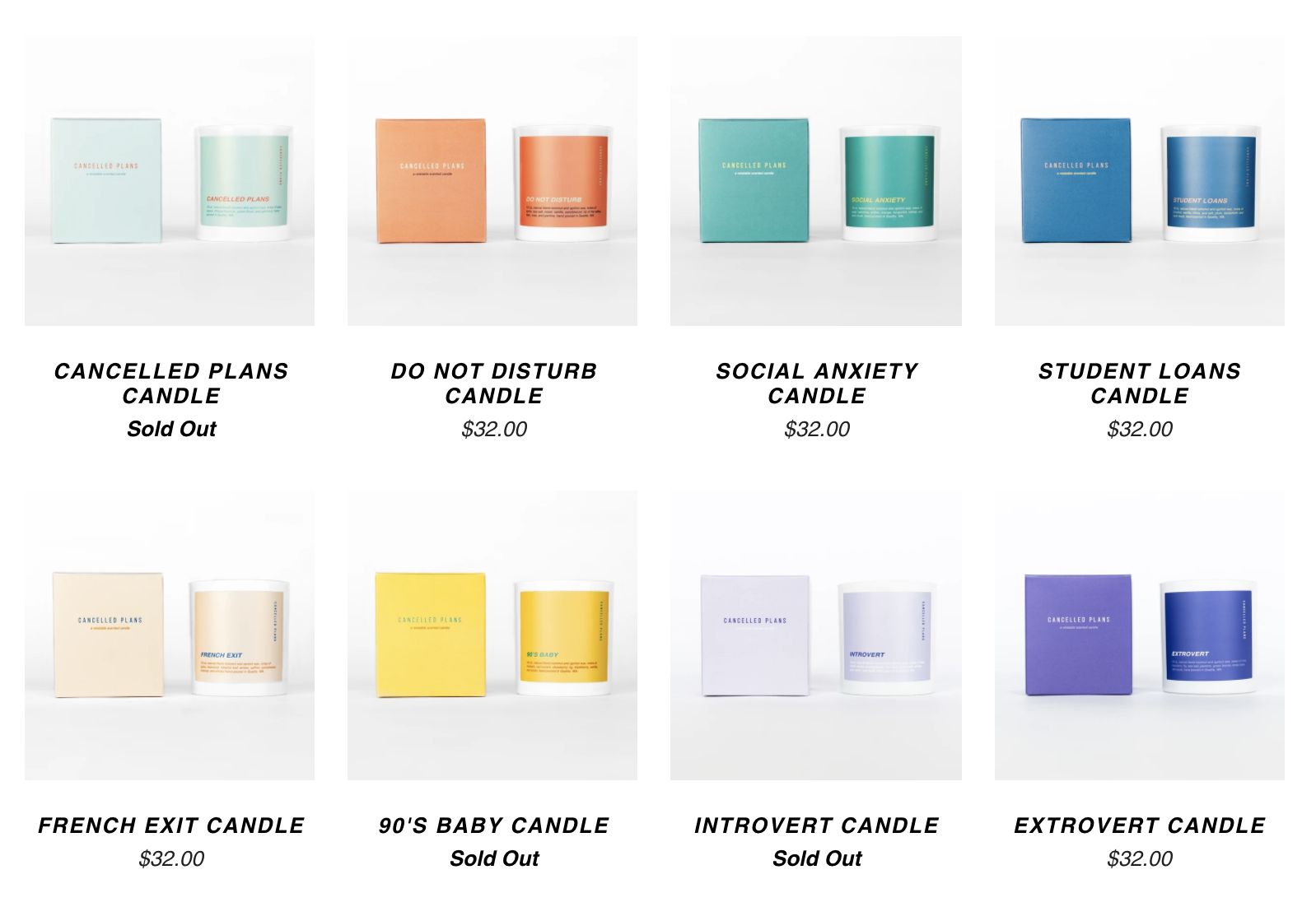 Cancelled Plans complete line of candles.