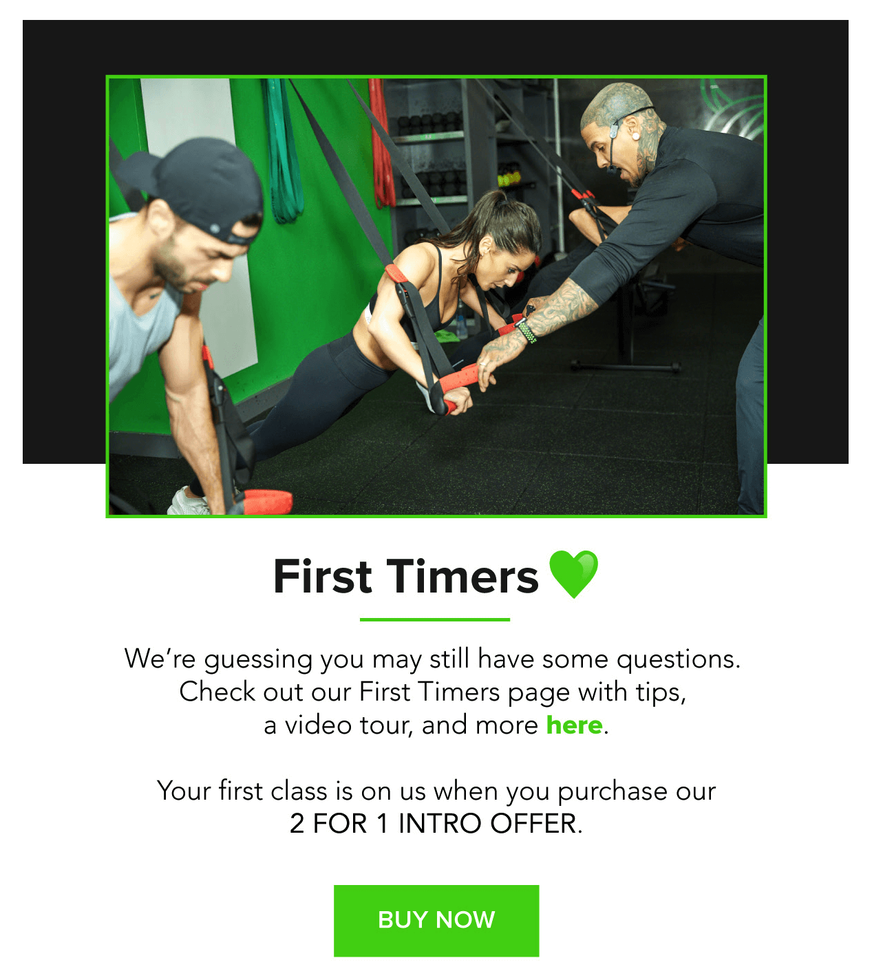 Fhitting Room welcomes new subscribers with a link to its First Timers page to ensure that they're well-educated before their first visit to the fitness studio.