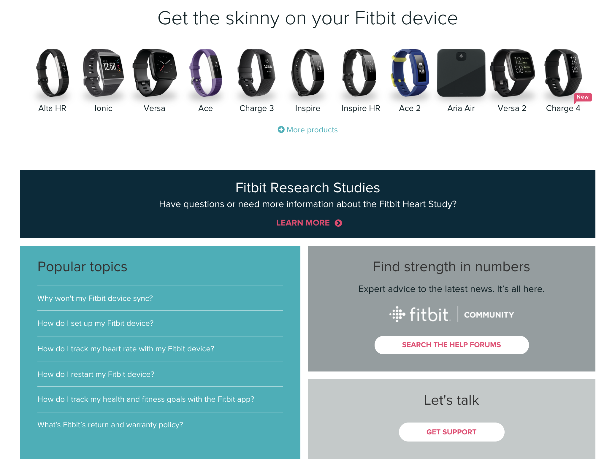 Fitbit's help homepage.