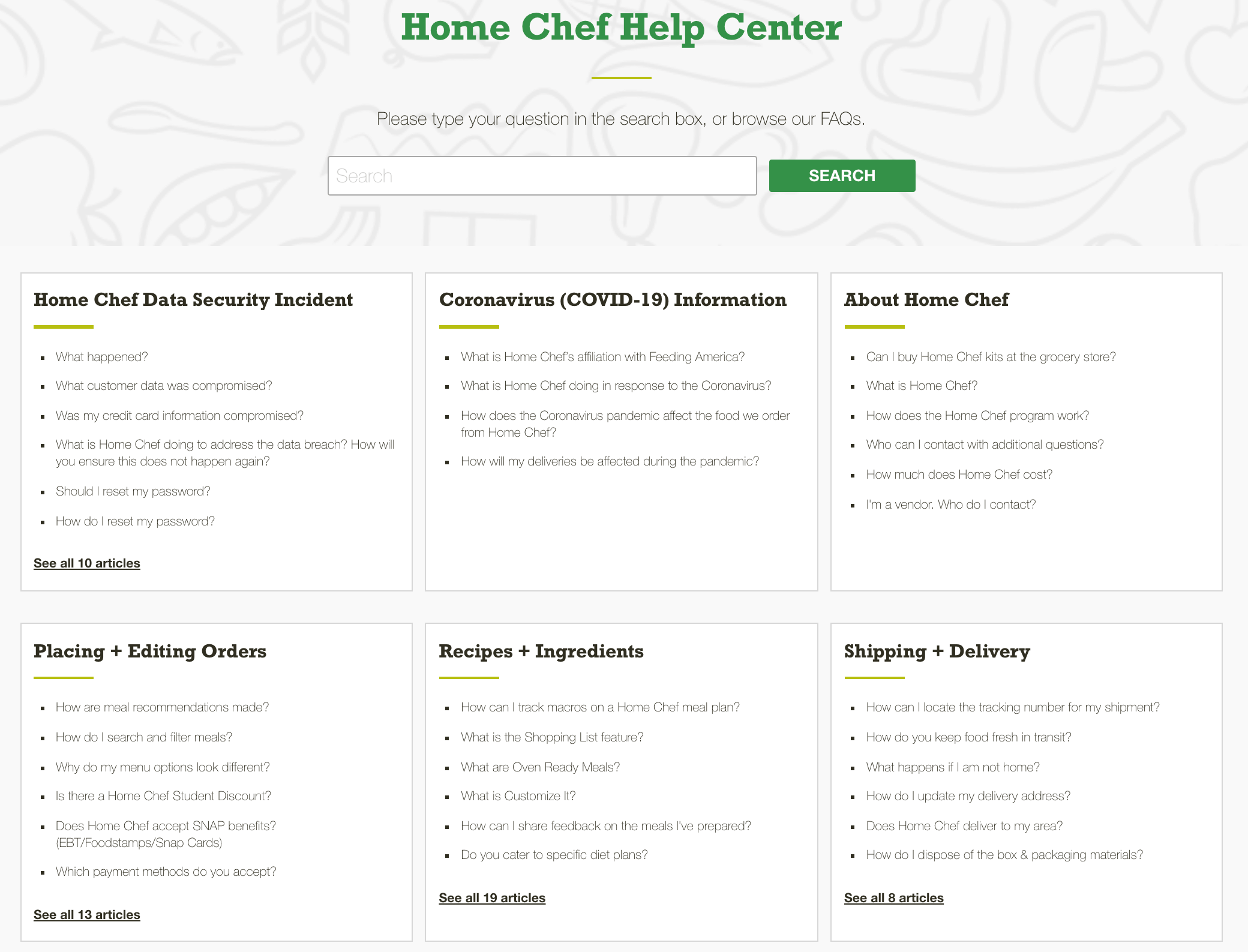 Home Chef uses a search bar and categorization to make its FAQ easy to navigate.