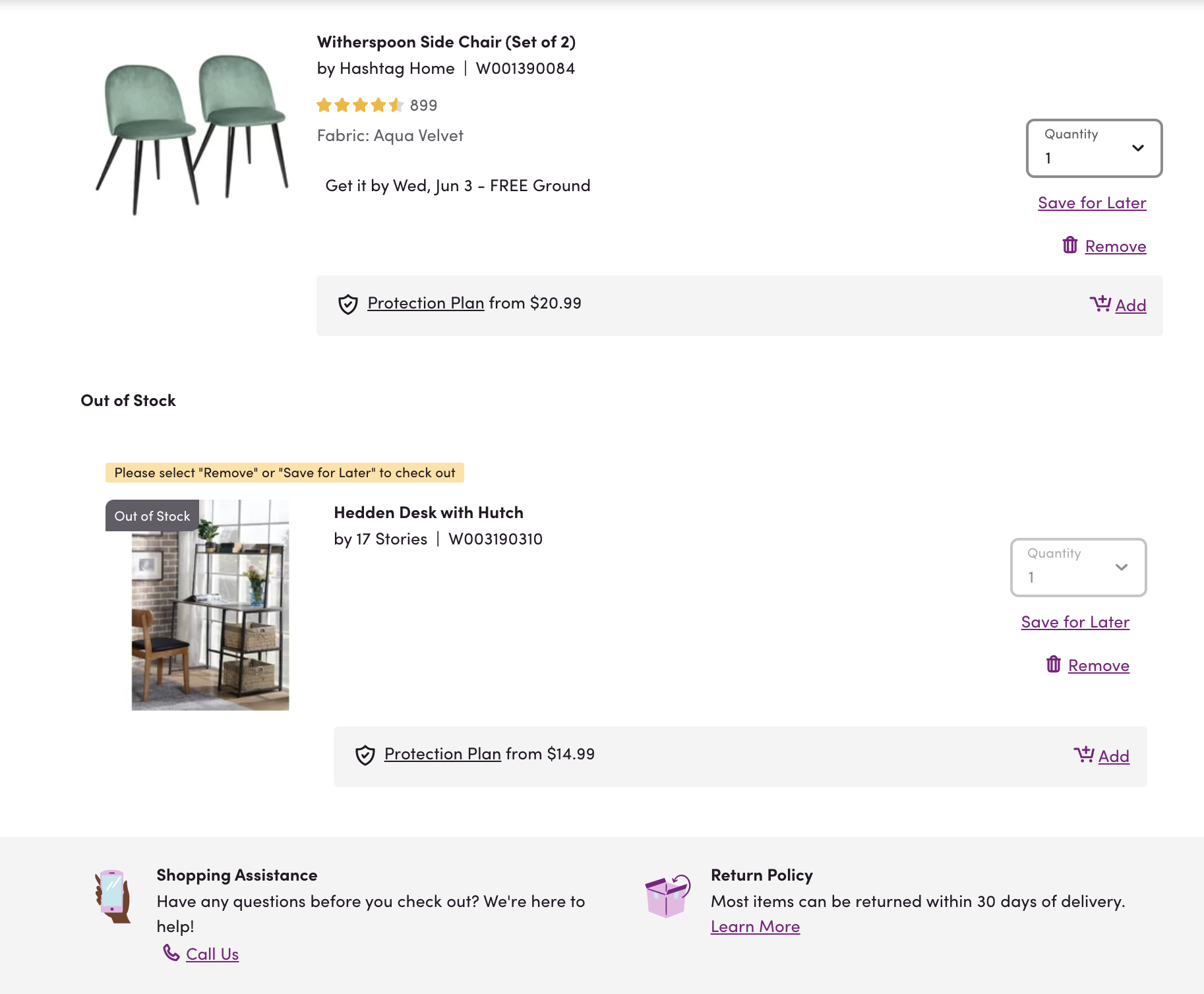 "Our employee's recent Wayfair cart with ""Shopping Assistance"" clearly displayed below the cart."