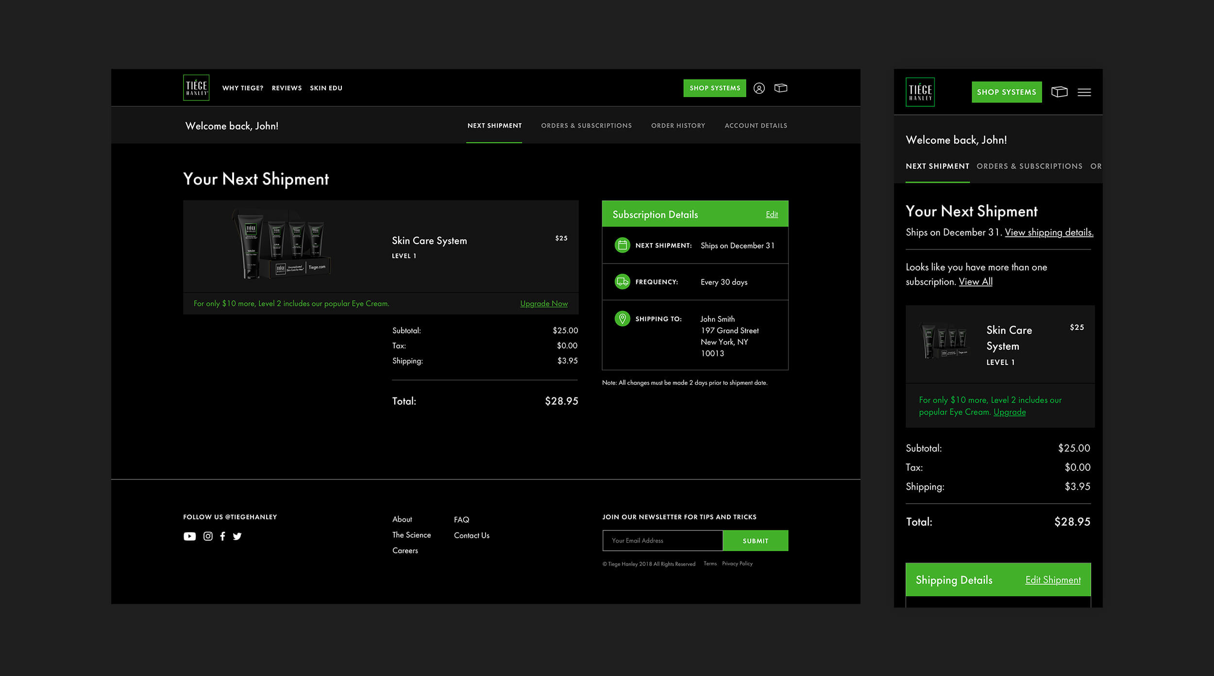 Barrel designed Tiege Hanley's Recharge subscription dashboard.