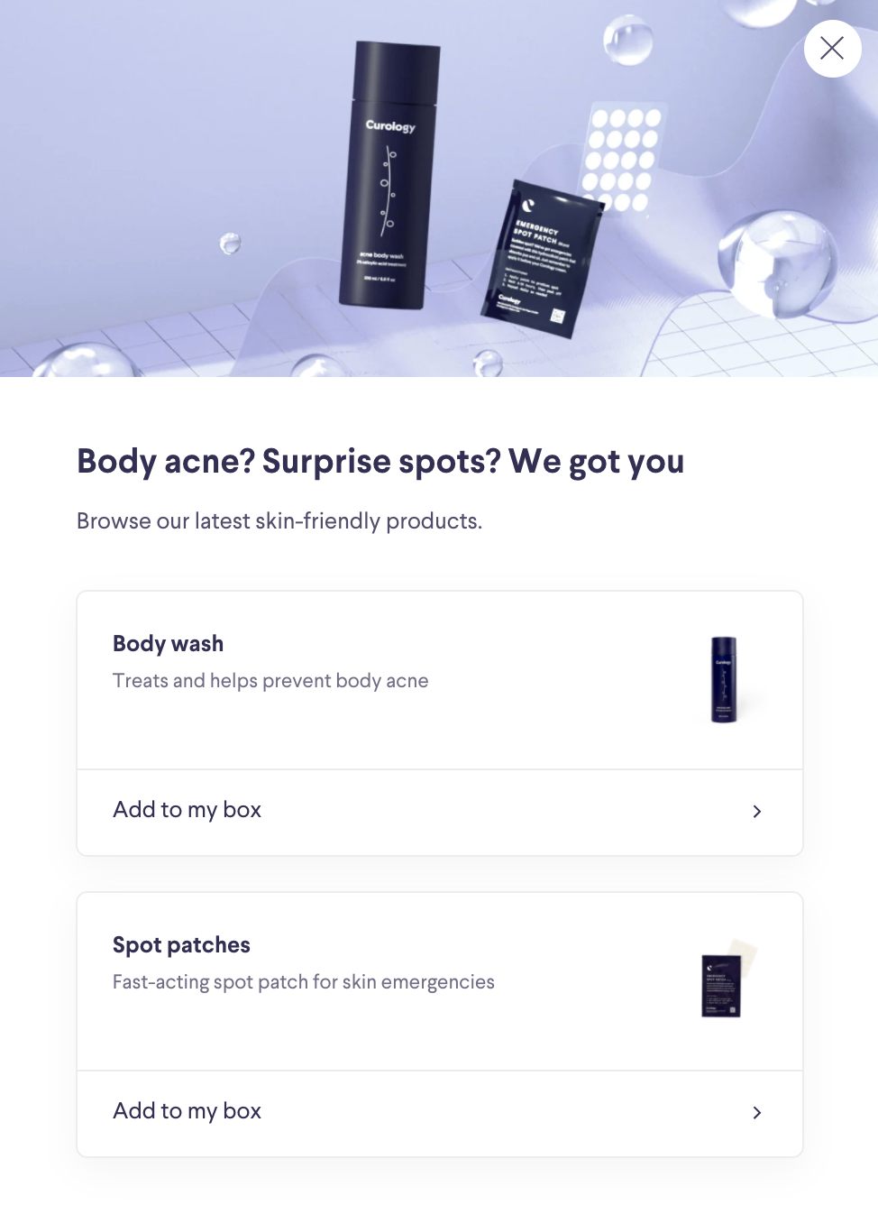 Curology's new acne body wash and spot patches.