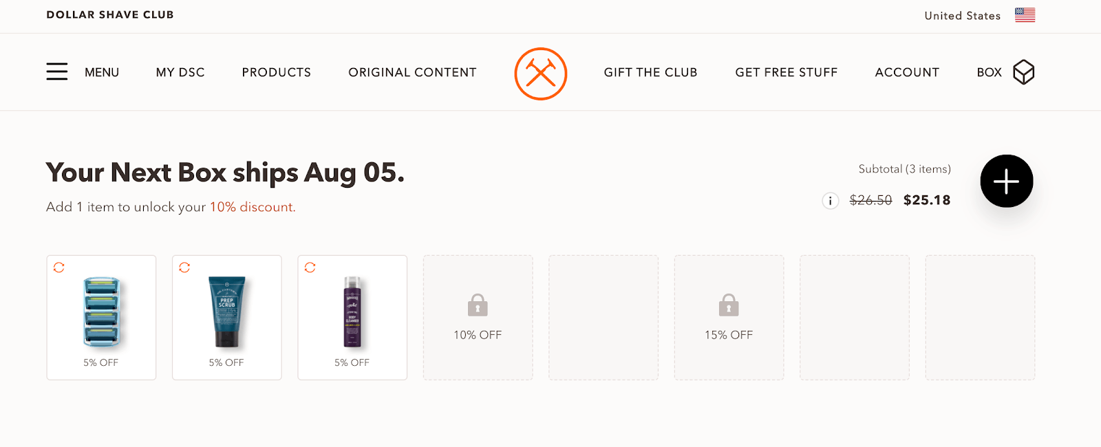 Dollar Shave Club's account dashboard lets you customize your order and the shipping details super easily.