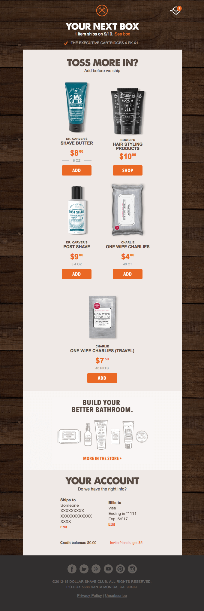 Dollar Shave Club adding additional product recommendations to an automated subscription confirmation.
