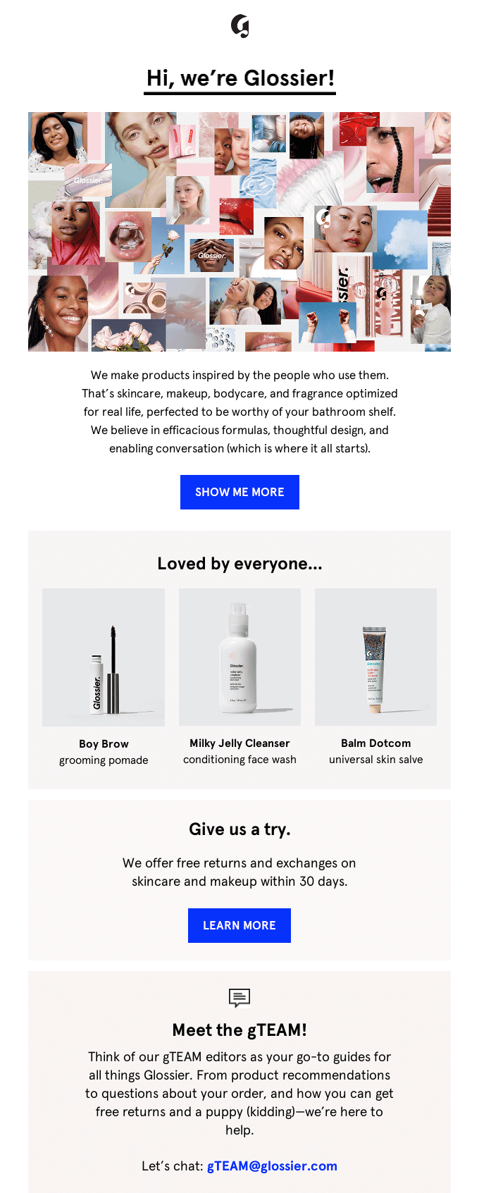 Part of Glossier's welcome email for new email subscribers.