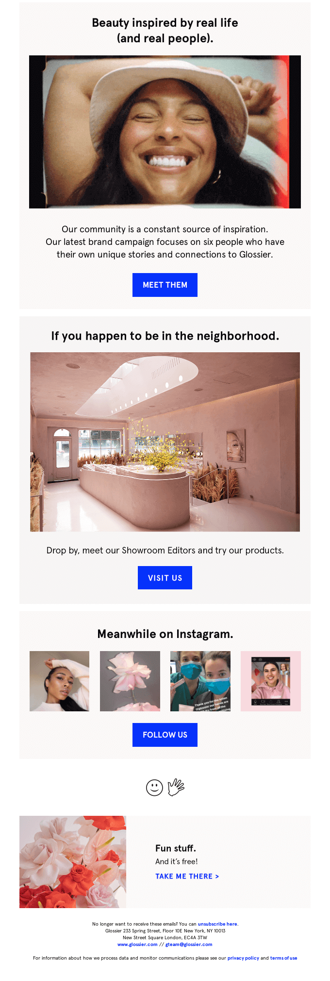 The second half of Glossier's welcome email.