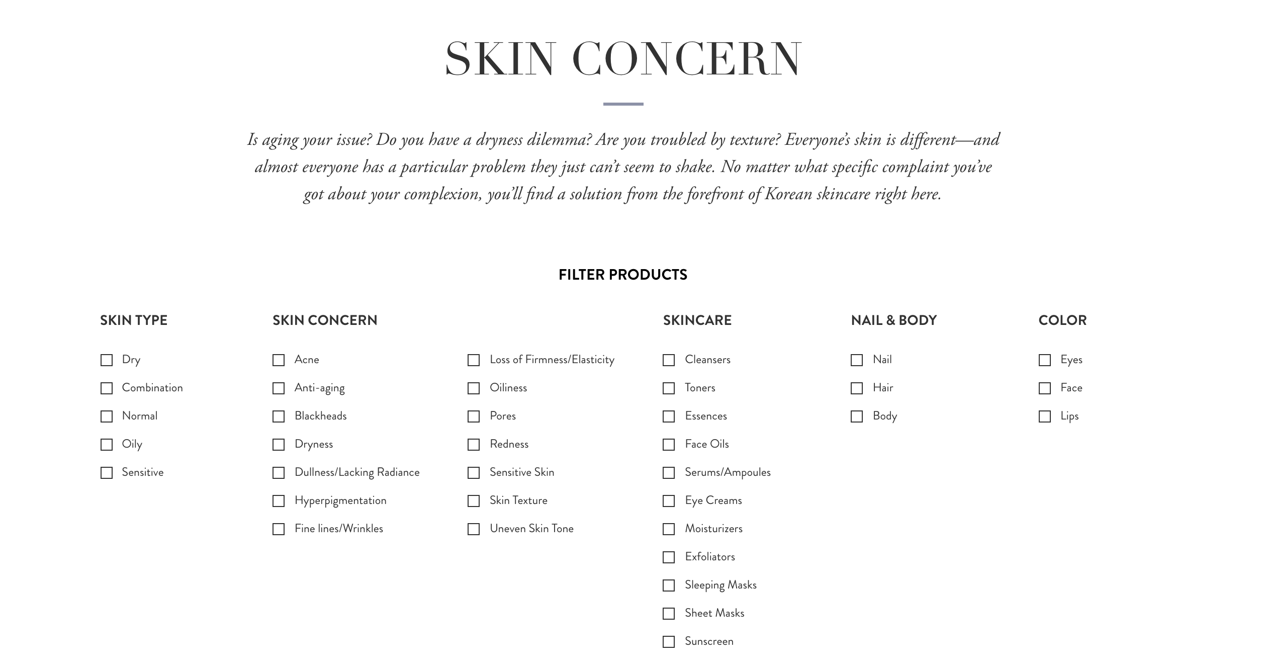 The K-beauty brand's products can be filtered by skin type, skin concern, and product type.