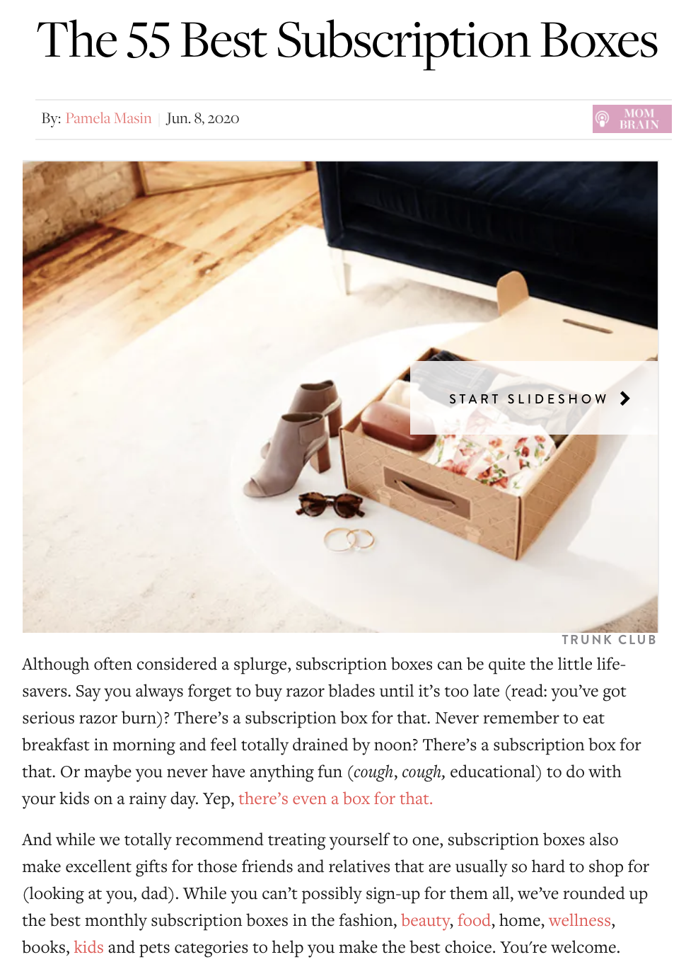 "A PR piece from PureWow featuring Birchbox as one of the ""55 Best Subscription Boxes."""