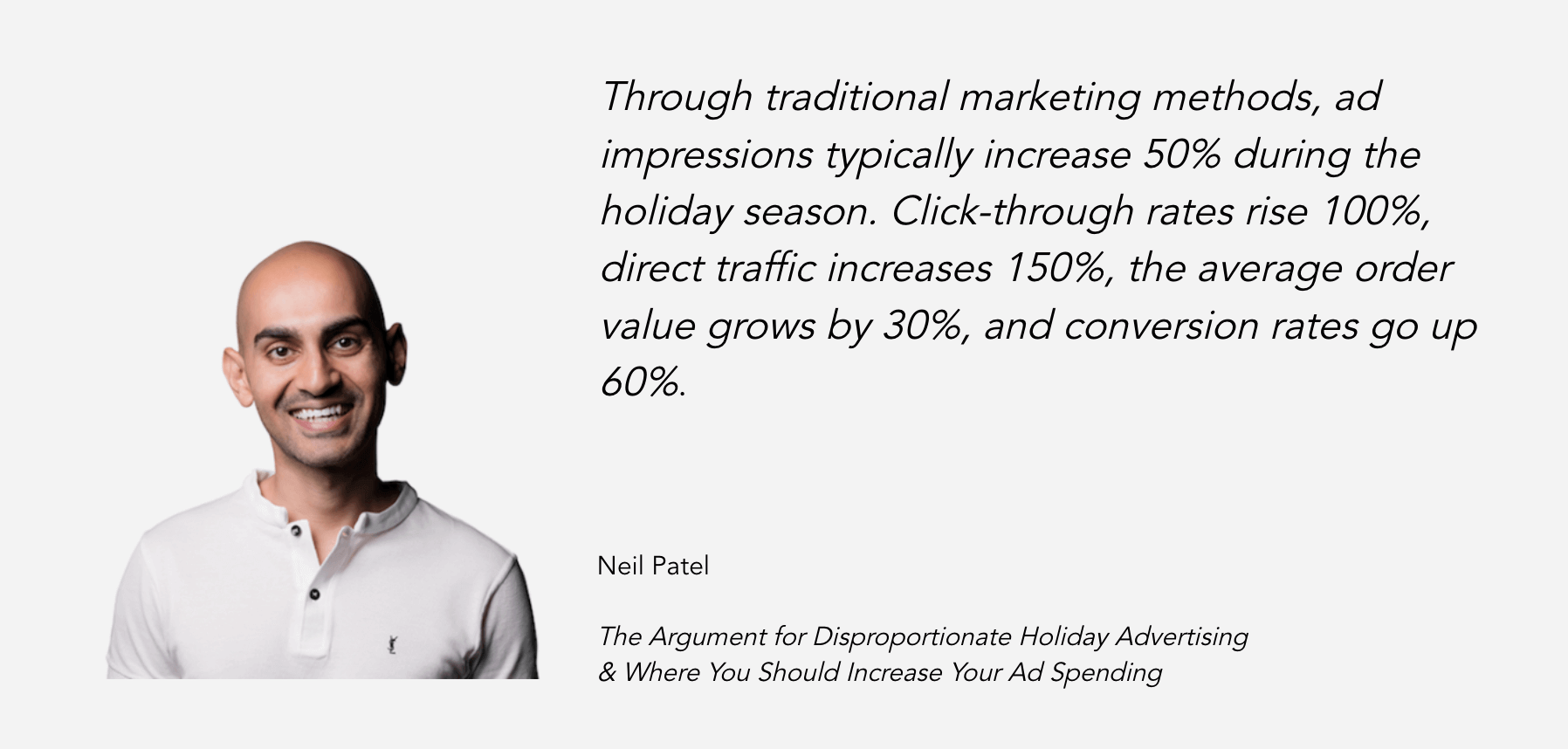 """Ad costs rise, but so does ad performance, during the holiday season. Neil Patel explains more in his post """"The Argument for Disproportionate Holiday Advertising & Where You Should Increase Your Ad Spending"""""""